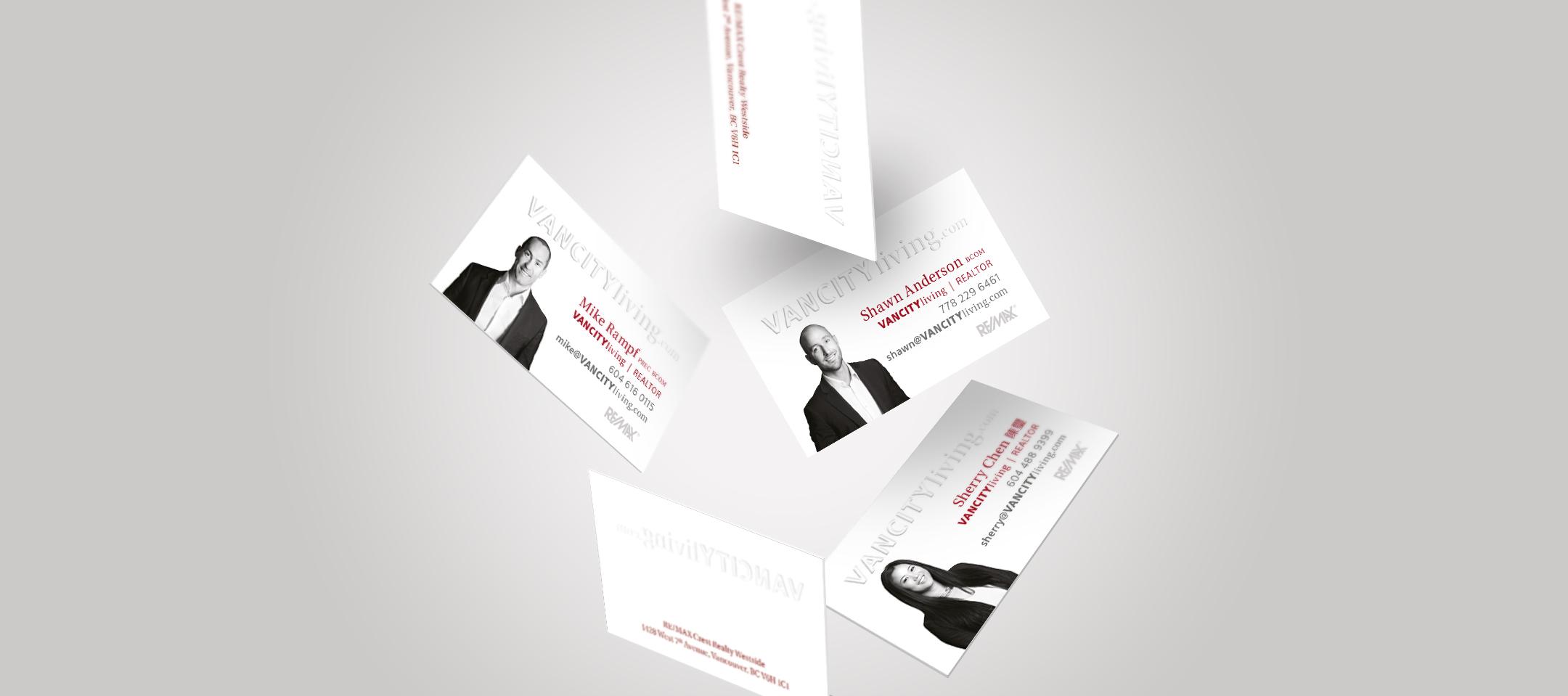 Dana Lu graphic design embossed realtor business cards