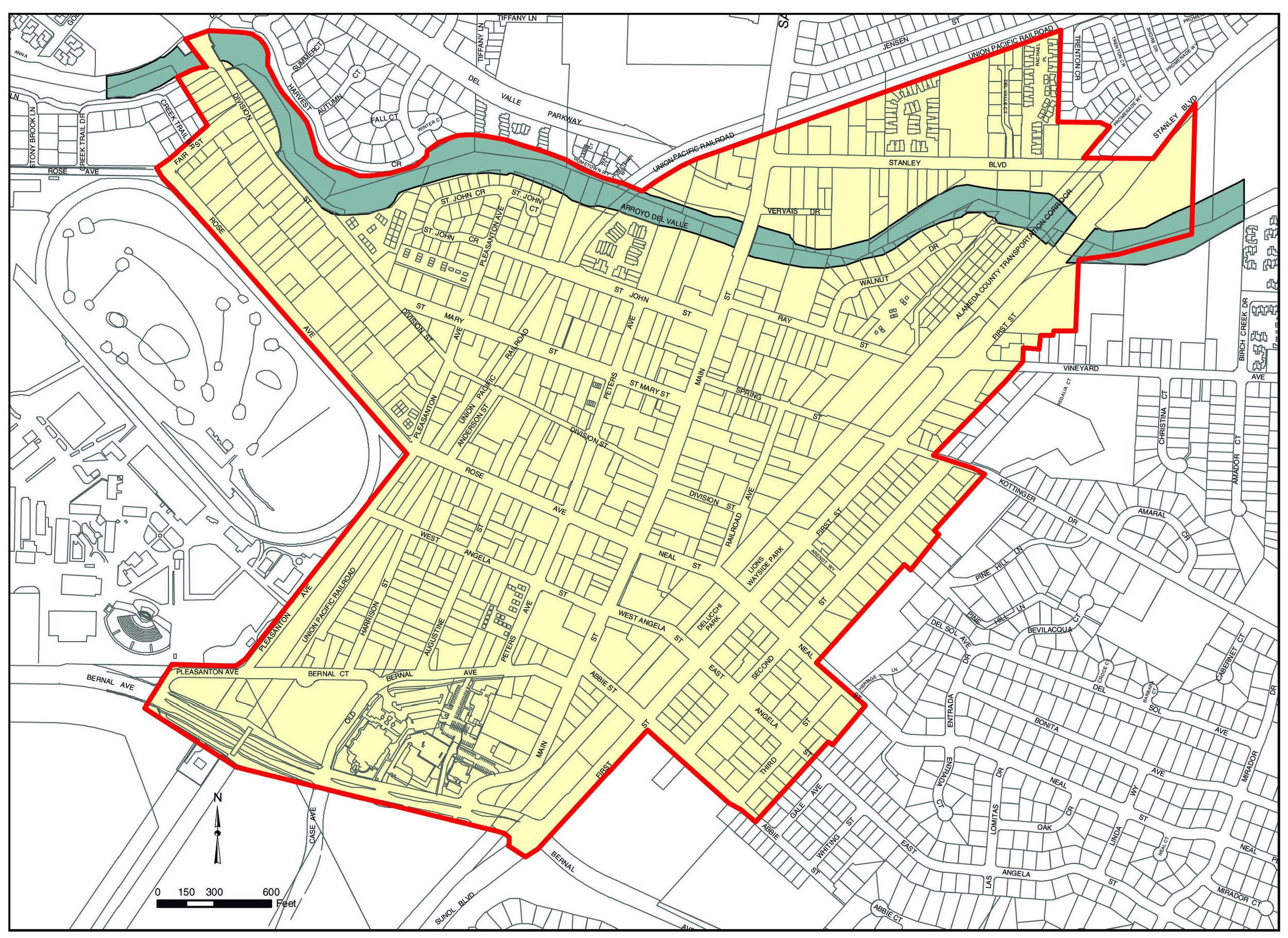 Downtown Pleasanton Planning Area Map