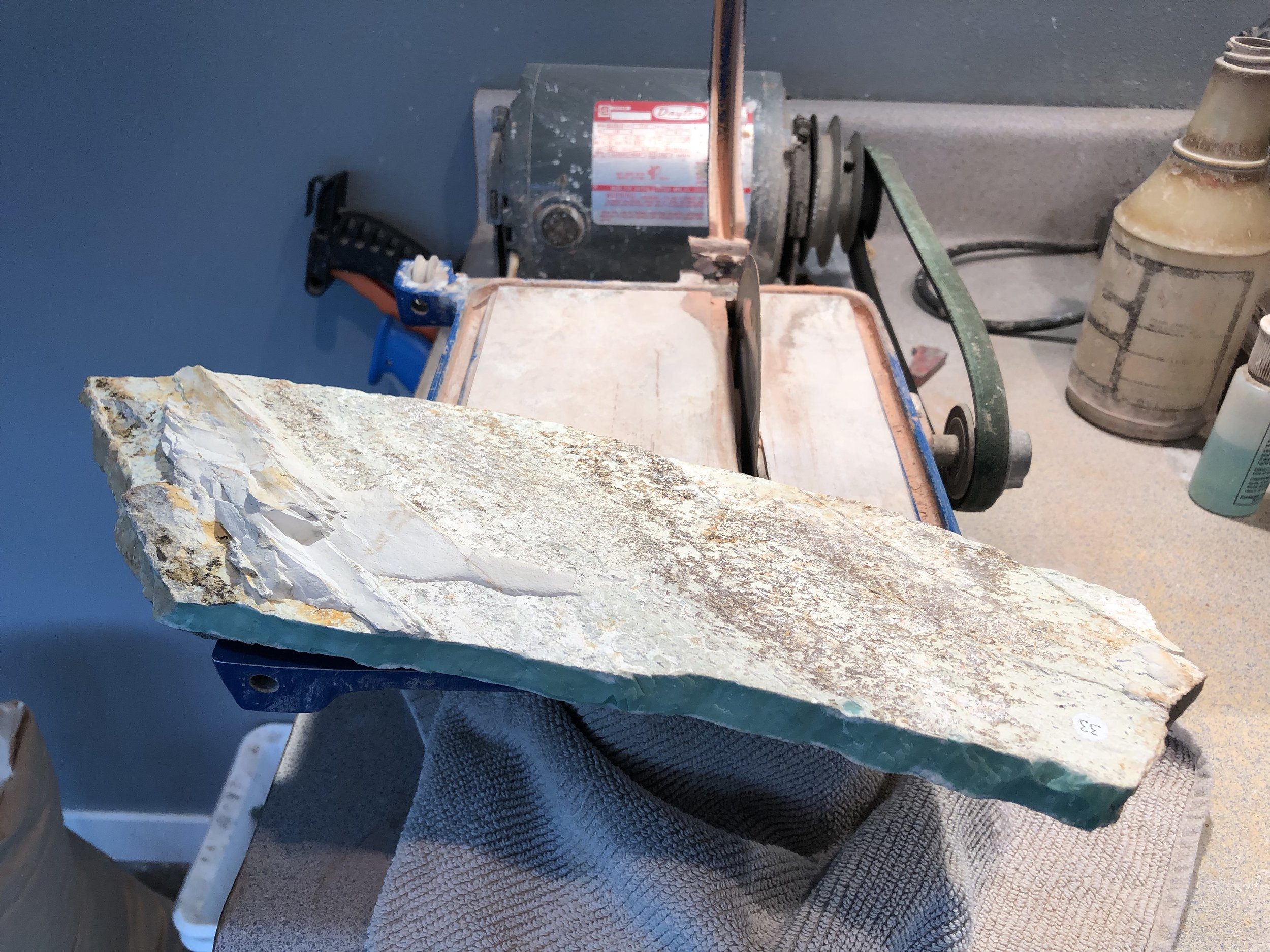 Variscite  plate on 6 inch diameter water cooled saw