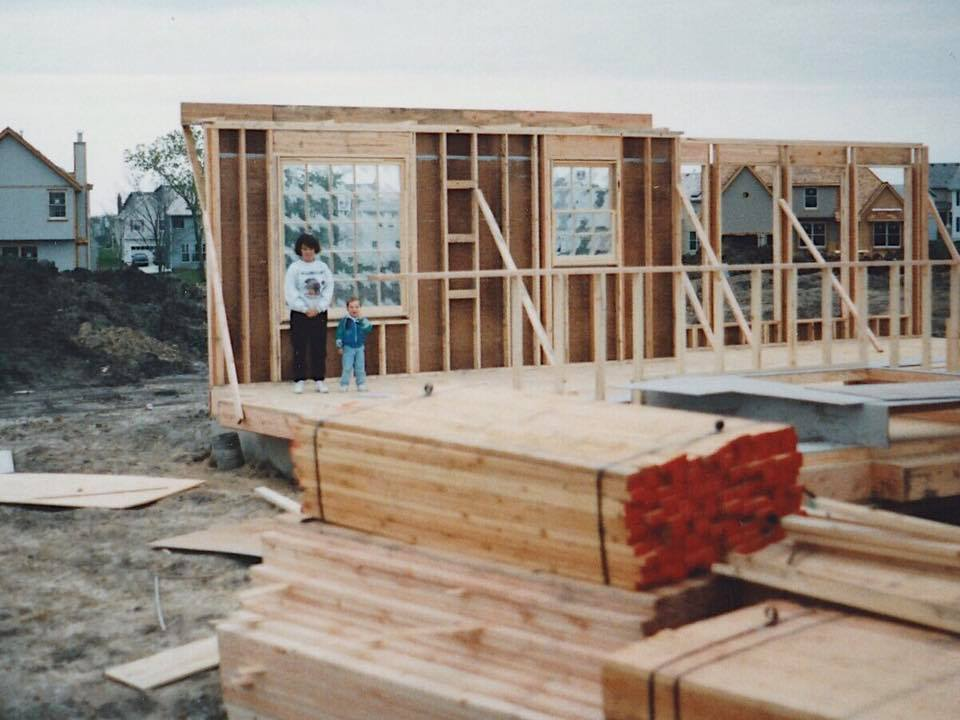 Photos of Gliesman's childhood home during construction.