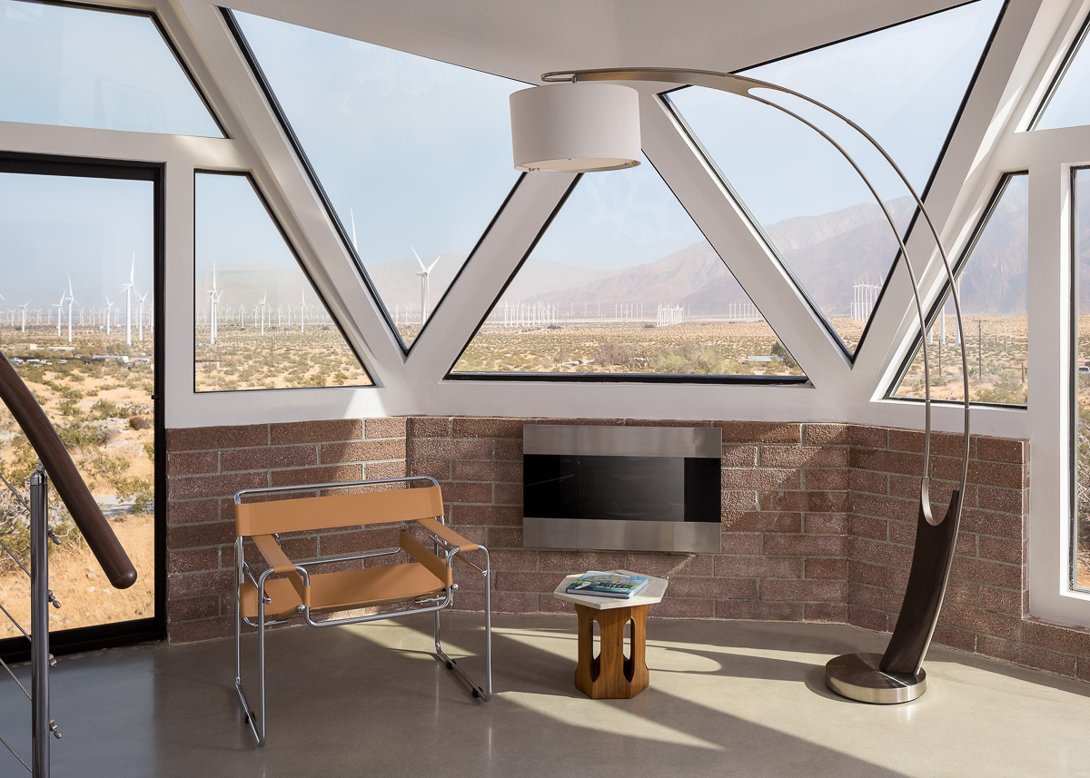 Sitting area at the Palm Springs Geodesic Dome House, Palm Springs, CA