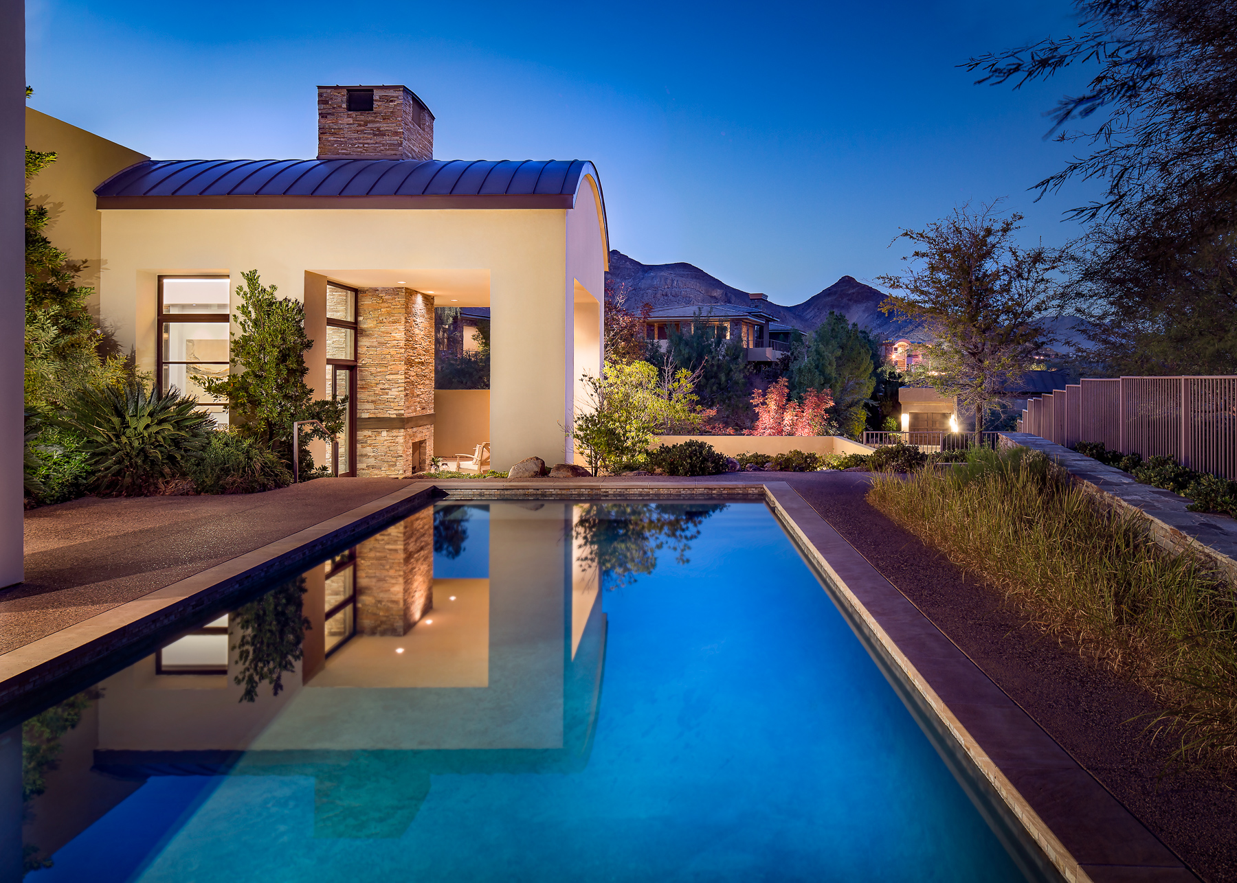 Private Residence at Twighlight with Swimming Pool