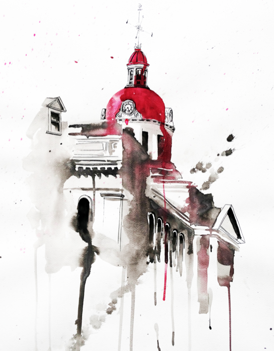 Kingston City Hall in Red | Art by Anthony Buttazzoni | www.anthonybuttazzoni.ca