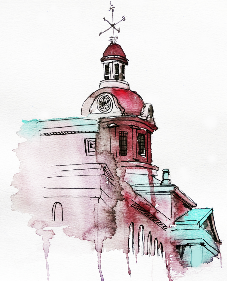 Kingston City Hall in Green & Pink | Art by Anthony Buttazzoni | www.anthonybuttazzoni.ca