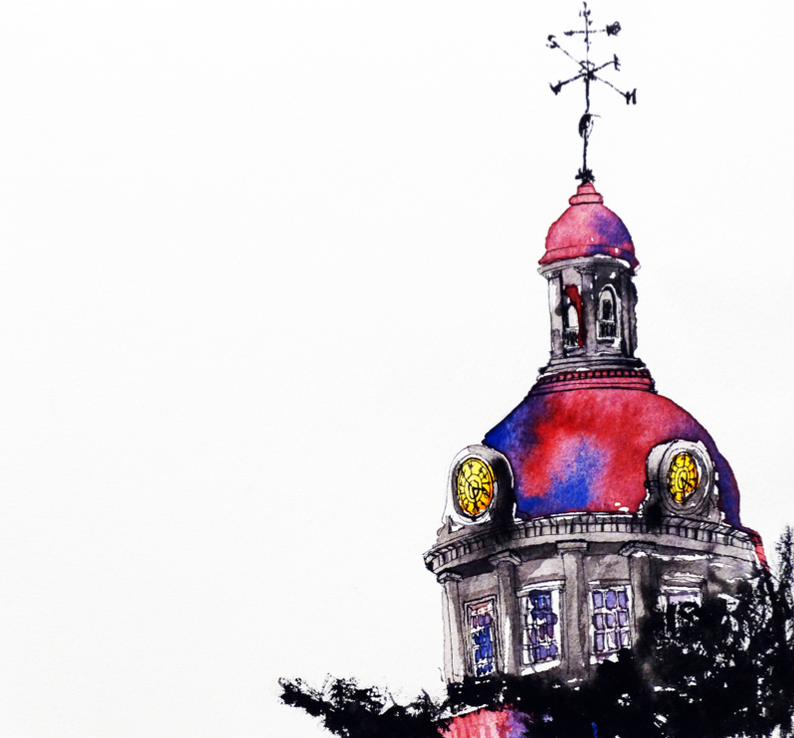 Kingston City Hall in Red & Purple | Art by Anthony Buttazzoni | www.anthonybuttazzoni.ca