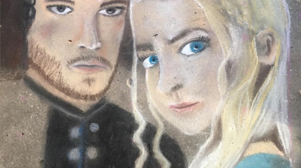 Chalk Pastel Drawing of Dany and Jon Snow