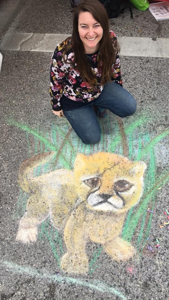Pastel Street Chalk Drawing of Baby Cheetah