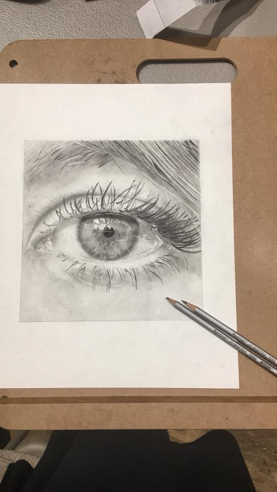 Black and White Pencil Drawing of Eye