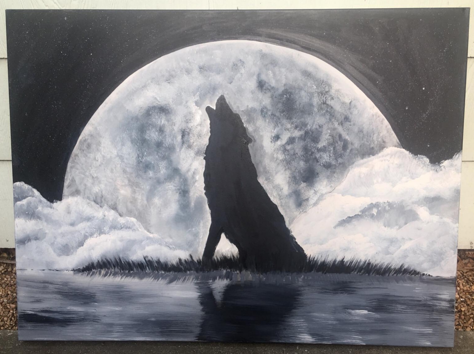 Wolf Pack Painting - Black and White Art Houston Texas.jpg