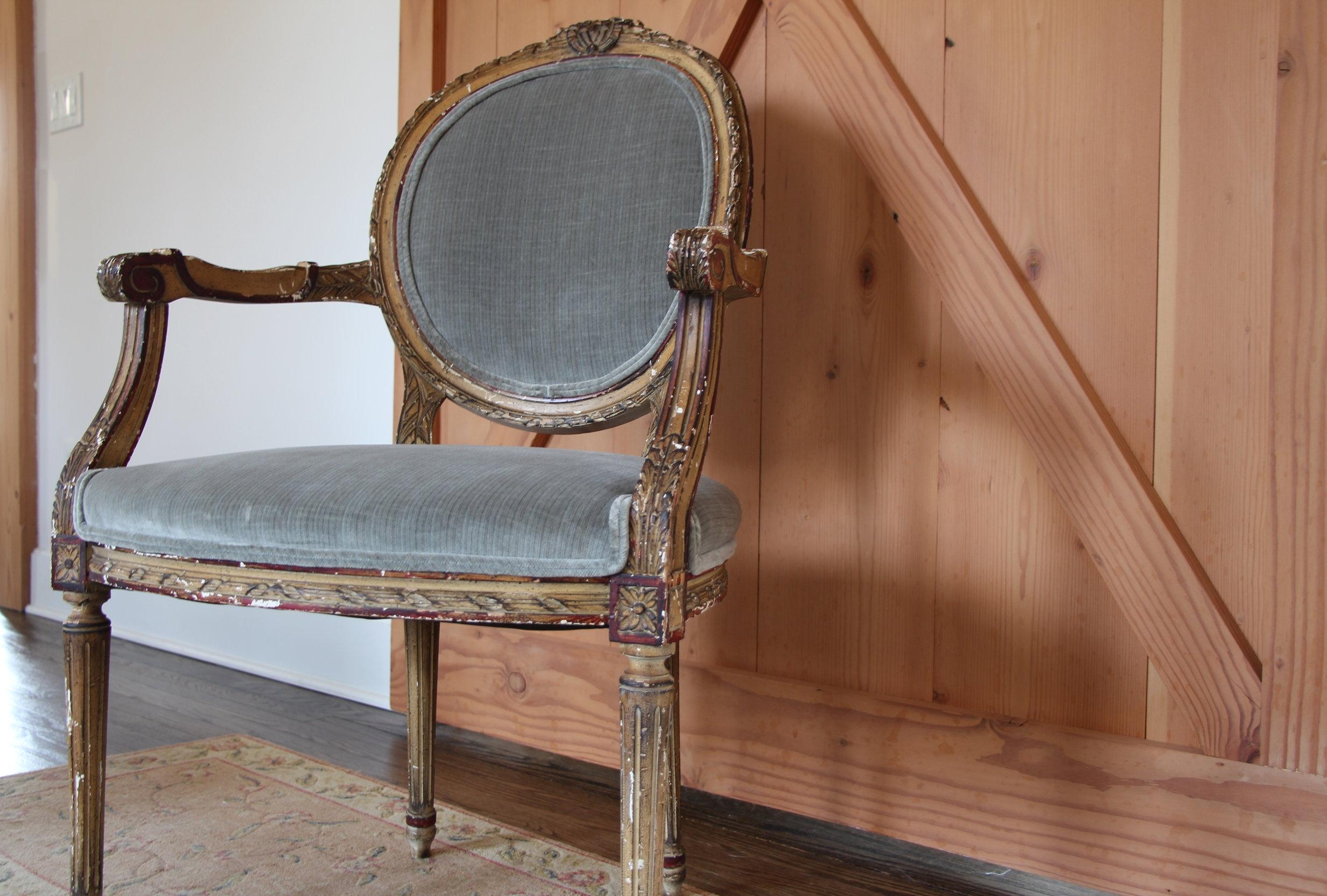 Louis chair, upholstered in Robert Allen's Strie Velvet, Zinc
