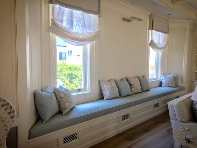 Custom, 18 ft upholstered window seat