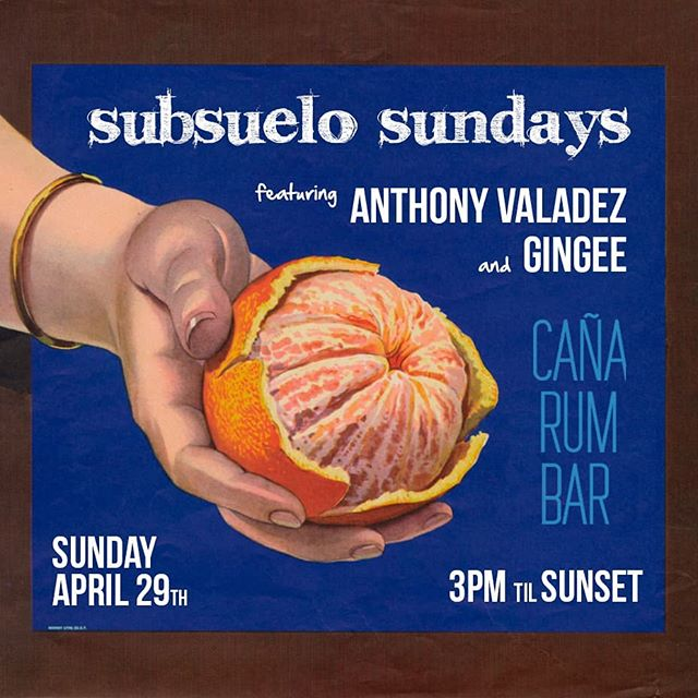 #SubsueloSundays KICKOFF tomorrow April 29 at @canarumbarla w @gingeeworld & @anthonyvaladez ... you ready #LosAngeles? . 🌴🍊🌴🍊🌴🍊🌴🍊🌴😄🌴😄🌴🍊🌴🔥🌴