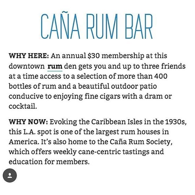 "Our friends @canarumbarla were included in @liquordotcom on their ""Drink Here Now"" list of best bars in the world! Find us at Caña for #SubsueloSundays🍊 all Summer! . . . #drinkherenow #dancehere #cocktailhour #cañarumbarla #213hospitality"