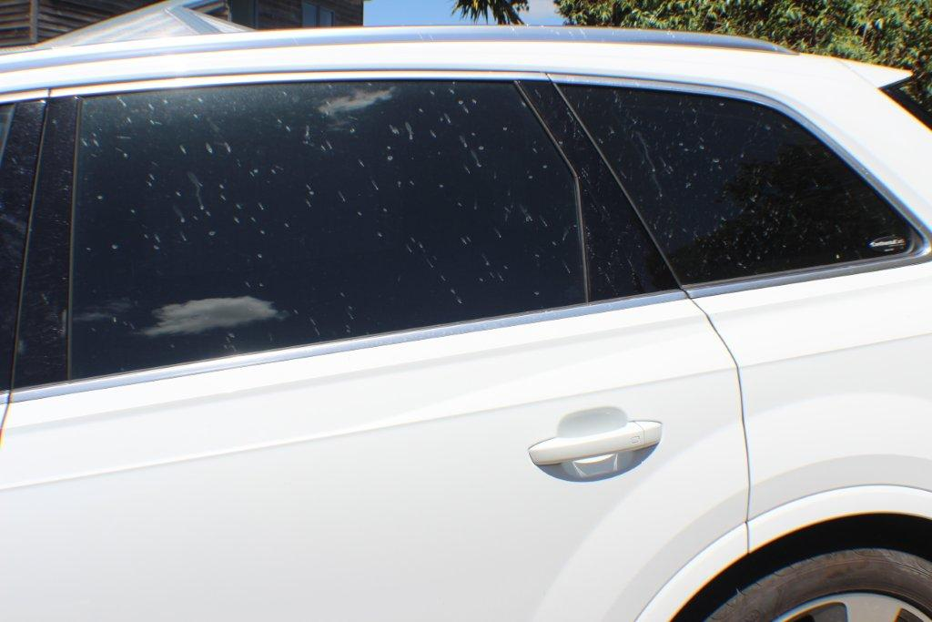 Car with lime splashes on rear door and windows