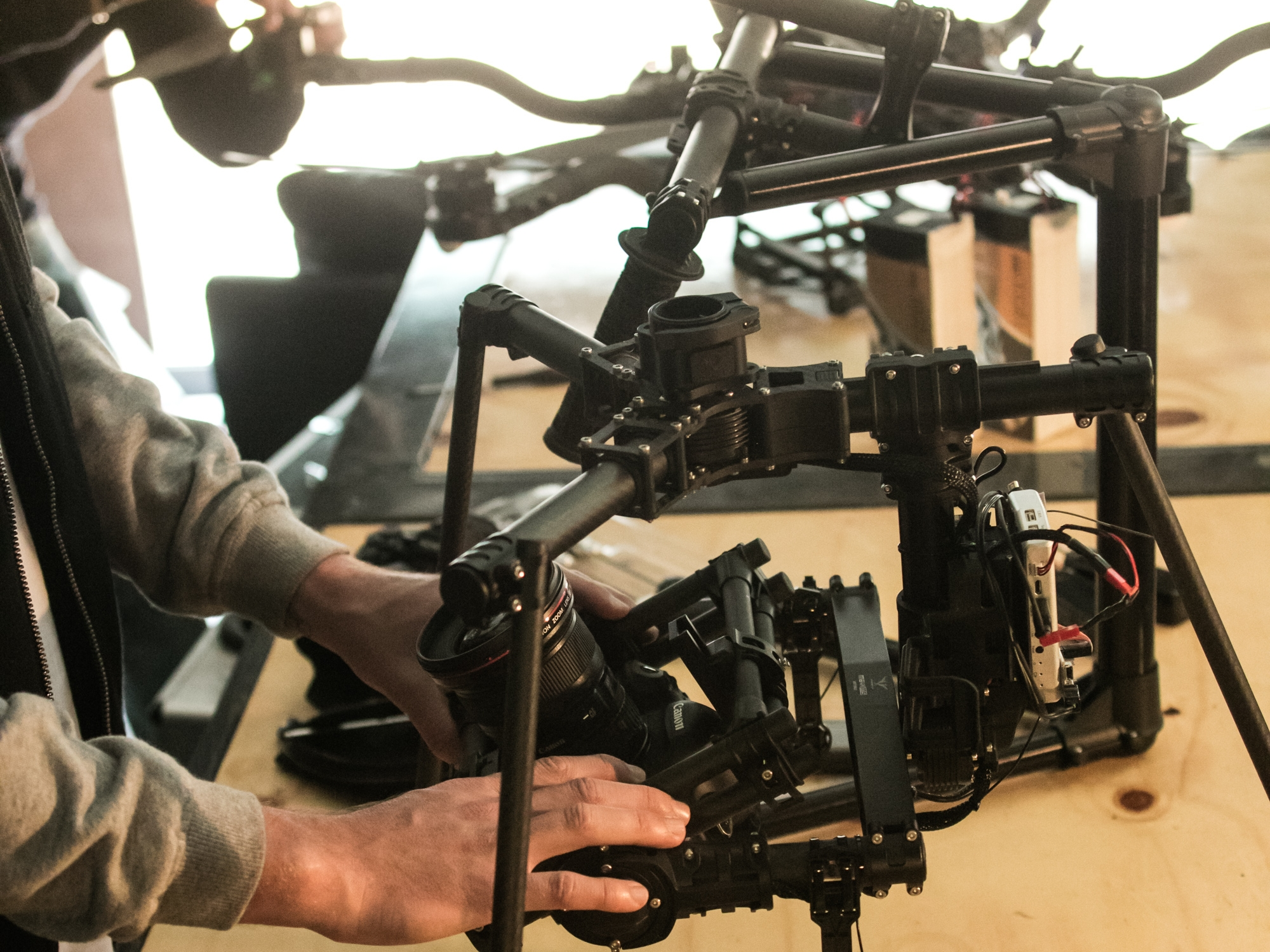 Equipment - Our drone fleet is always growing, updating and improving along with our range of cameras, gimbals and lenses. You'll most often see us flying our heavy-lift Freefly Systems ALTA 6 drone with a Sony A7Rii camera housed in Movi M10 gimbal underneath (or on top!) to capture premium photo and video content. Or if versatility and convenience is required, you'll catch us flying our Inspire 1 Pro drone systems.