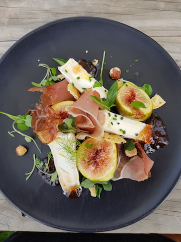 The Vines Village entry - The Vines Village Rare fare dish with honey roasted Marlborough figs, Cranky Goat goats cheese, Peter the Swiss Butcher's charcuterie, Uncle Joe's hazelnut crackers, Manaaki Kawakawa Jelly