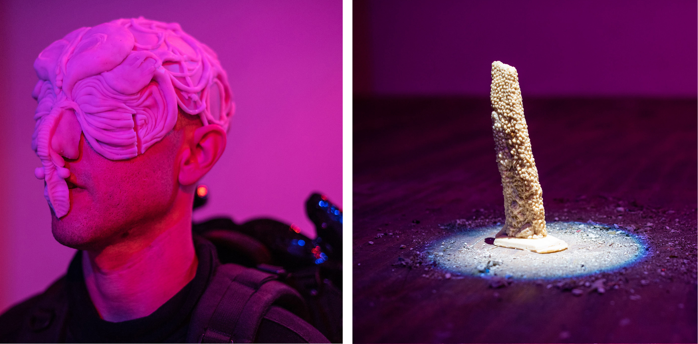 (Left) The silicone headpiece documented pre-performance, before the black mantle of the creature's head was affixed over it. (Right)  ALL THAT REMAINS , a sculpture made from over one thousand tiny skulls cast in potassium nitrate and sugar. All of the dirt from the floor of the Jace Space was swept to its base where it was spotlit by a framing projector from above.