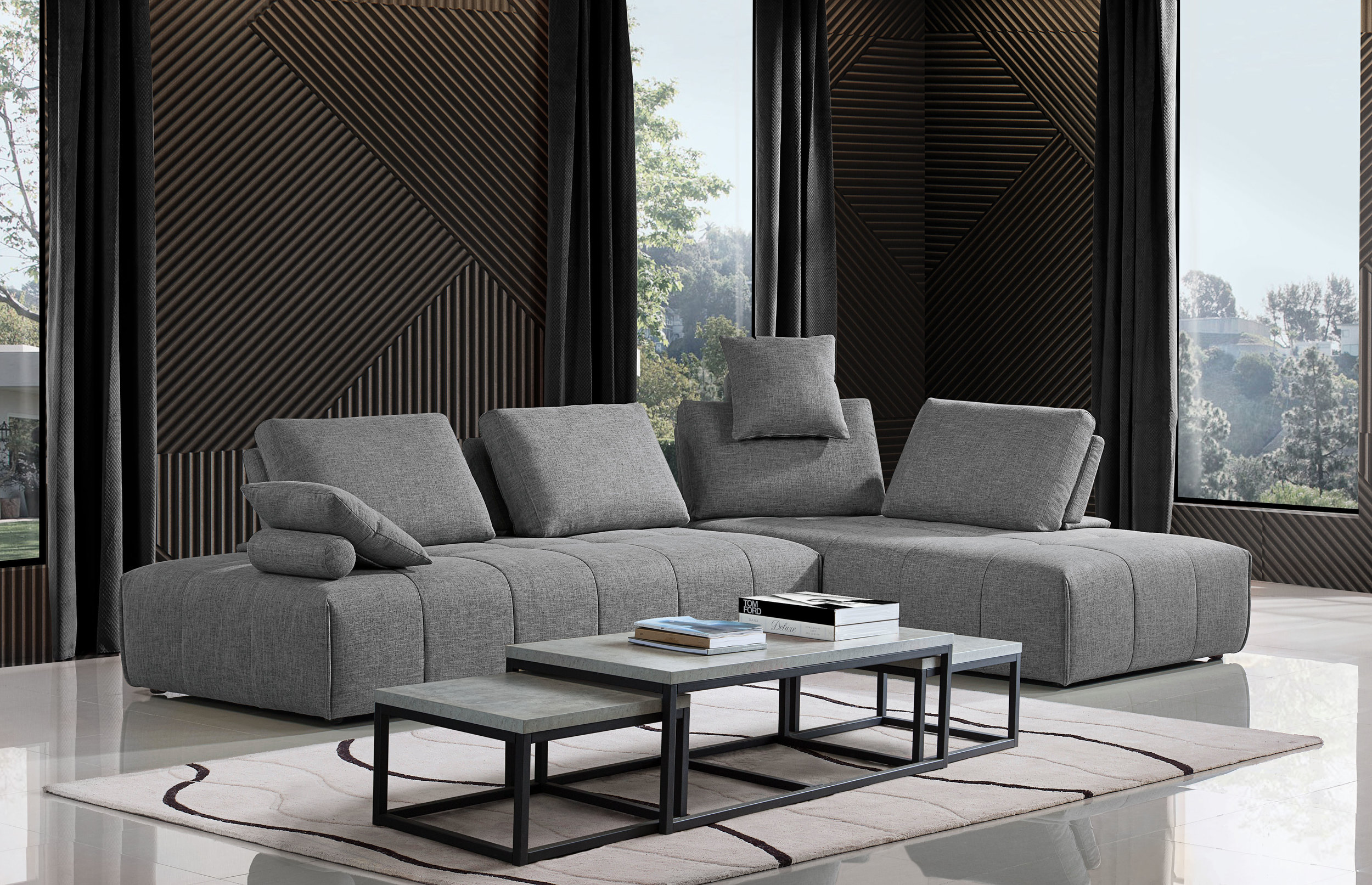 2 Lounger Configuration, shown with Atlus 3 piece nesting tables