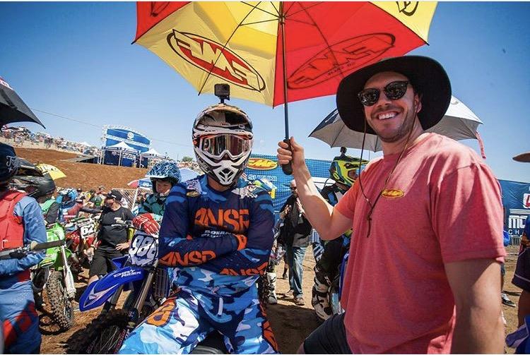 Donny Emler Jr. and I on the line before practie       Photo Credit: Derek Garca