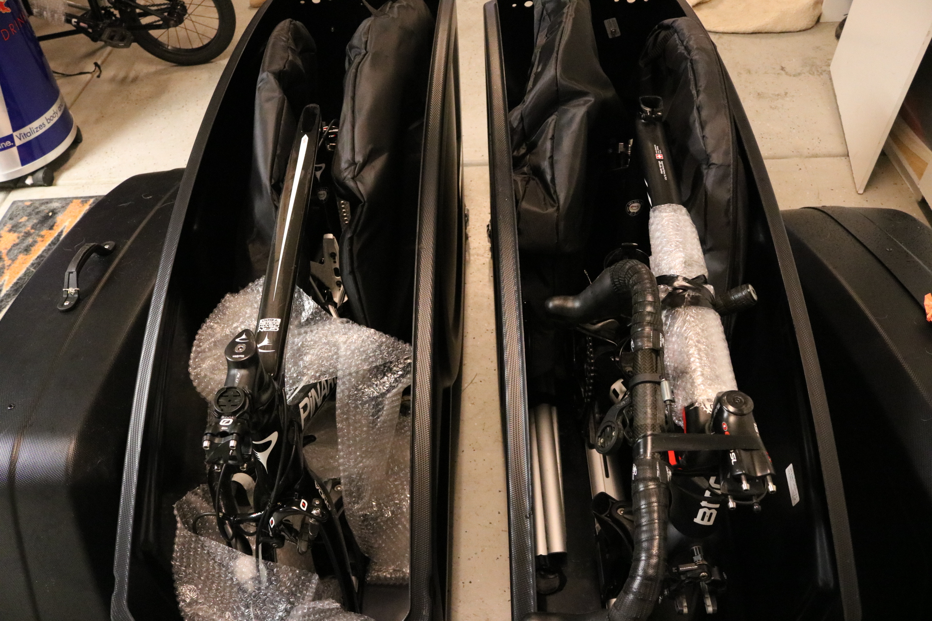 Sarah's Pinarello and my BMC packed for the trip