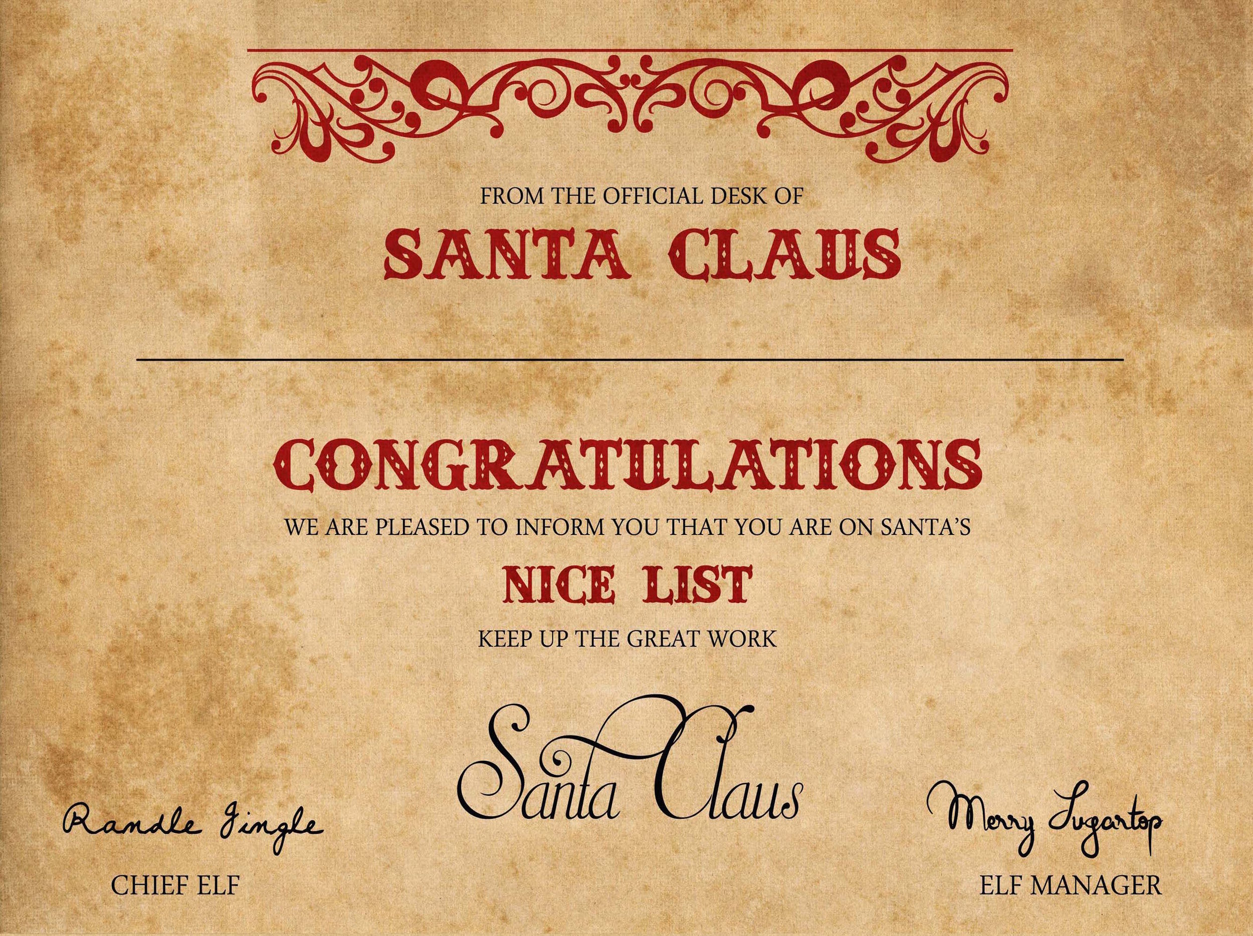 Nice List Certificate Stamped By Santa