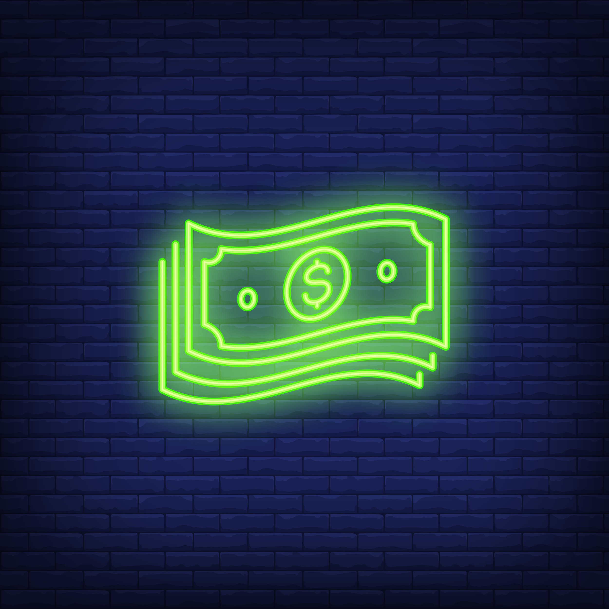 Bundle of dollar bills neon sign