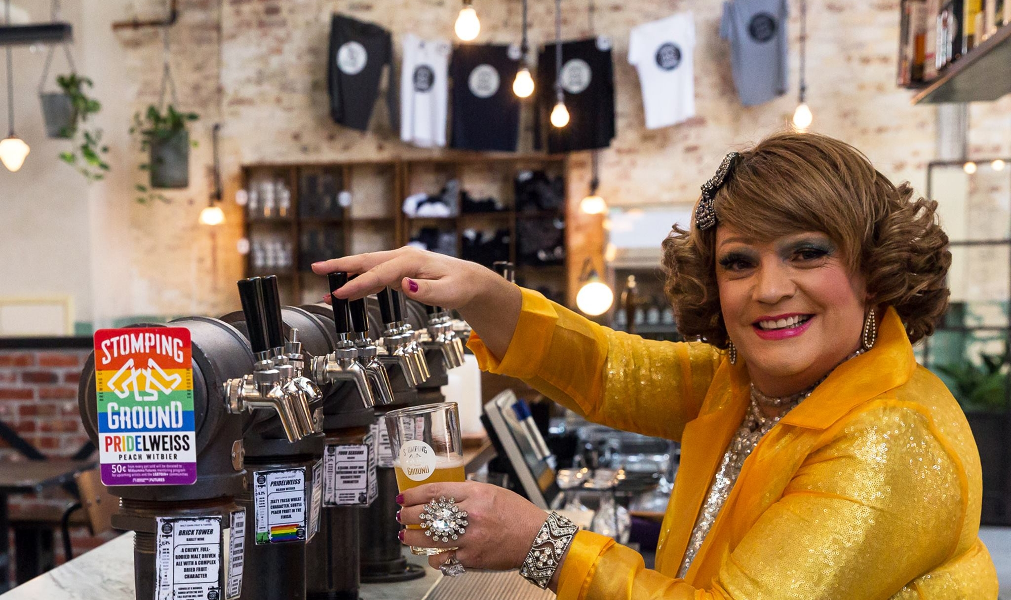 Dolly Diamond pouring PRIDElweiss at Stomping Ground.  Facebook:  @therealdollydiamond   | Instagram:  @therealdollydiamond  | Twitter:  @_DollyDiamond
