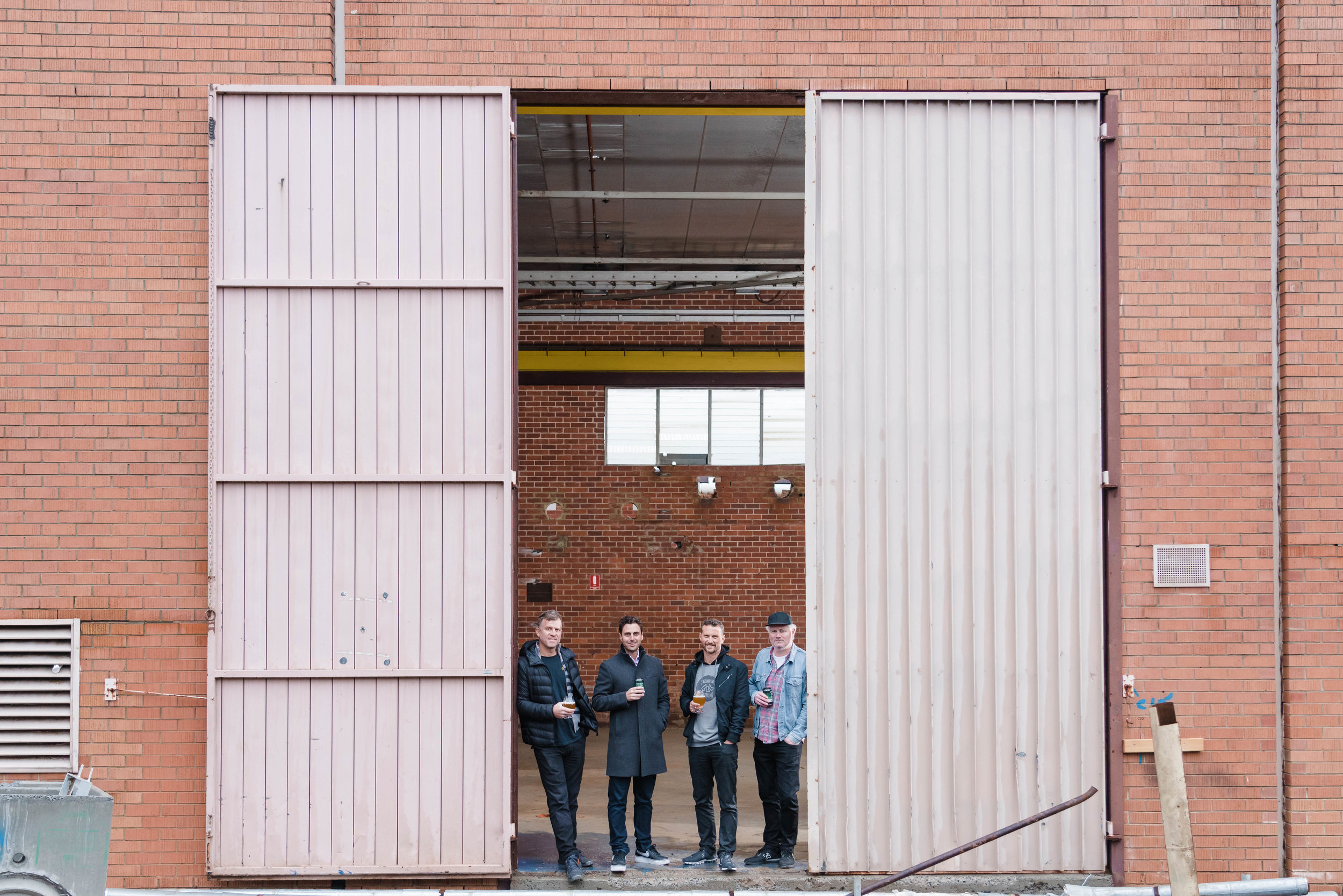 Steve, Guy and Justin at the Stomping Ground Morris Moor site with Up Property Managing Director Adam Davidson (second from left). The team expect the venue to open early in 2020.
