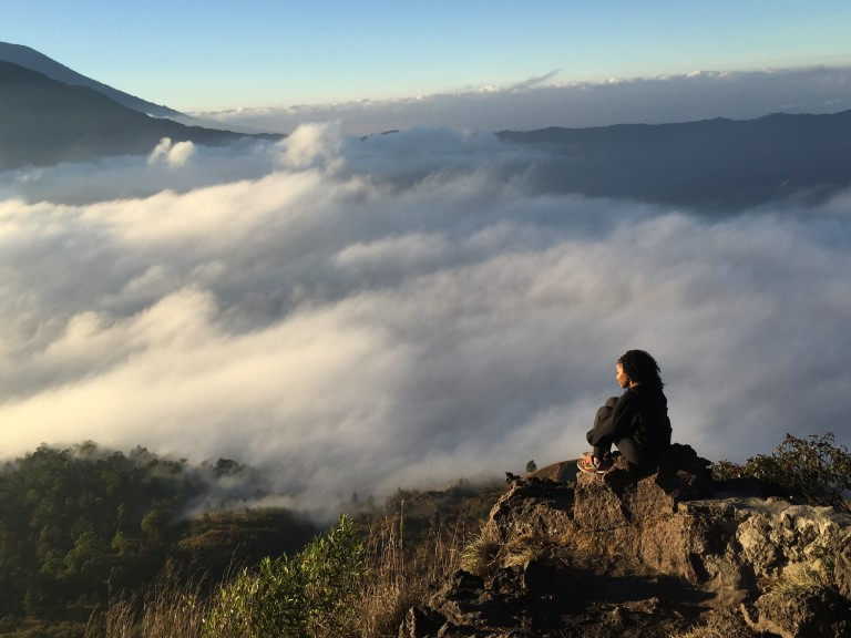 Watching the sunrise after a 2 hour morning hike to Mount Batur