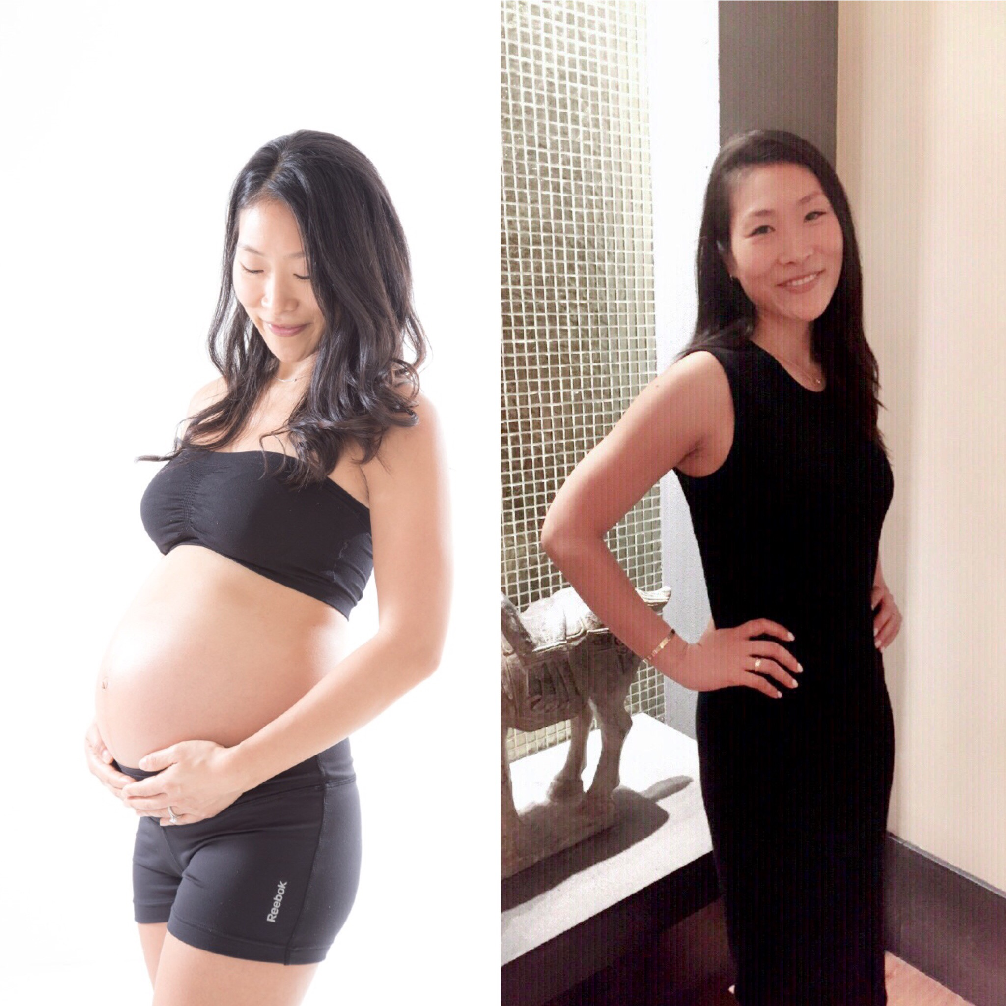 before/after - On the left, Ginny is 33 weeks pregnant. On the right, Ginny was 3 months post delivery. Total Weight Gain during pregnancy was 20lbs