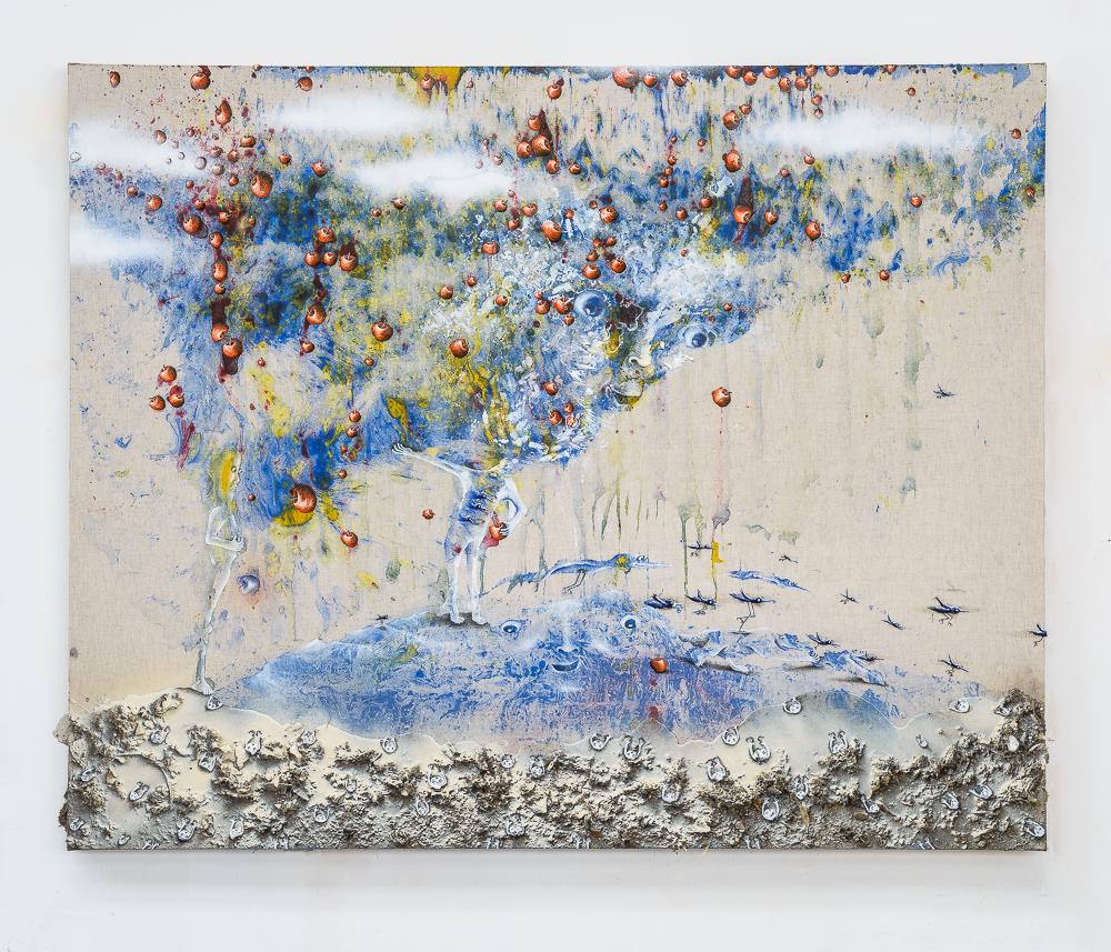 Marlène Mocquet, Plus trash la vie - 2014 Email à froid, pigment, liant vinylique, poussière, résine époxy, bombe aérosol et huile sur toile, 130 x 162 cm