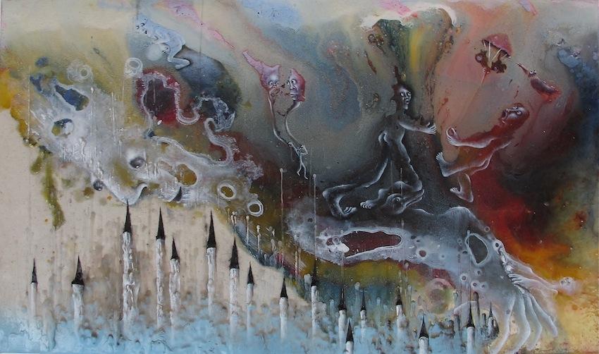 Marlène Mocquet, Cuisson interne empirique - 2014 Résine époxy, émail à froid, cire, huile et bombe aérosol sur toile, 27 x 46 cm