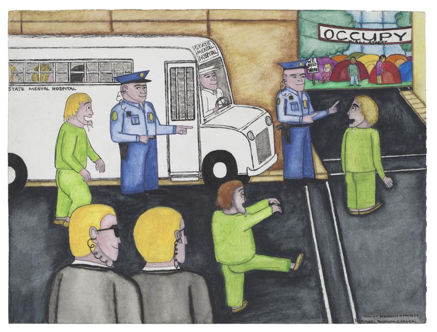 How to Discredit a Protest, 2012. Encre, crayon et aquarelle sur papier, 23 x 30,5 cm