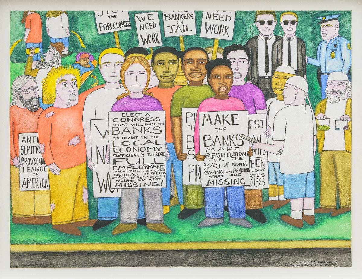 We've Got'em Surrounded, 2013. Encre, crayon et aquarelle sur papier, 30,5 x 40,5 cm