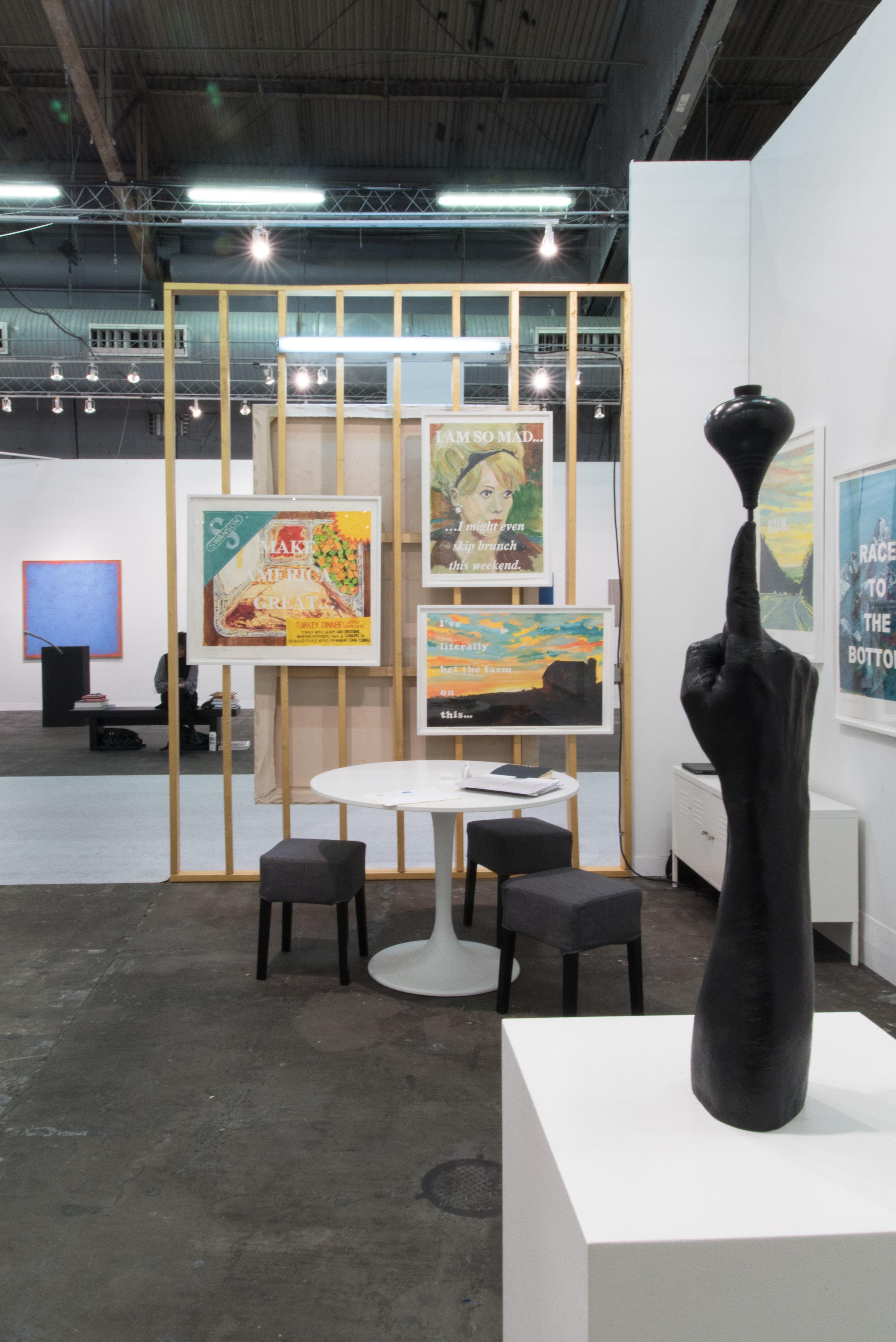 Fair view : Galerie Laurent Godin, Booth 719, March 2017  Front :  Gonzalo Lebrija,  Suspensive Condition , 2017 Bronze 54 x 9,8 x 9,8 cm