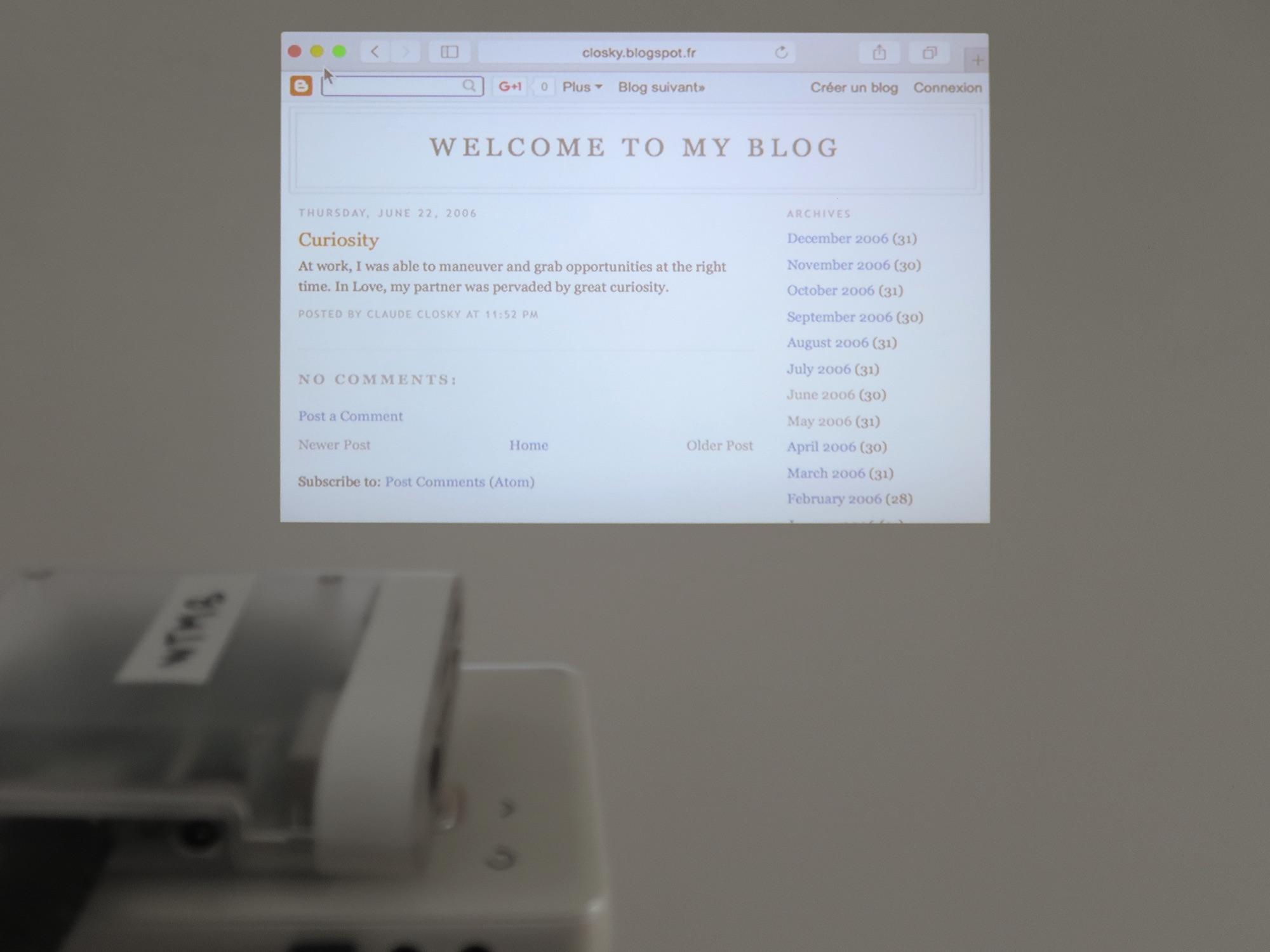 Claude Closky,  Welcome to my blog , 2006, internet blog (closky.blogspot.com-), 365 posts. Exhibition view 'ILUO,' Centre des livres d'artistes (CDLA), Saint-Yrieix-la-Perche, 2017. Curated by Christian Lebrat, Didier Mathieu