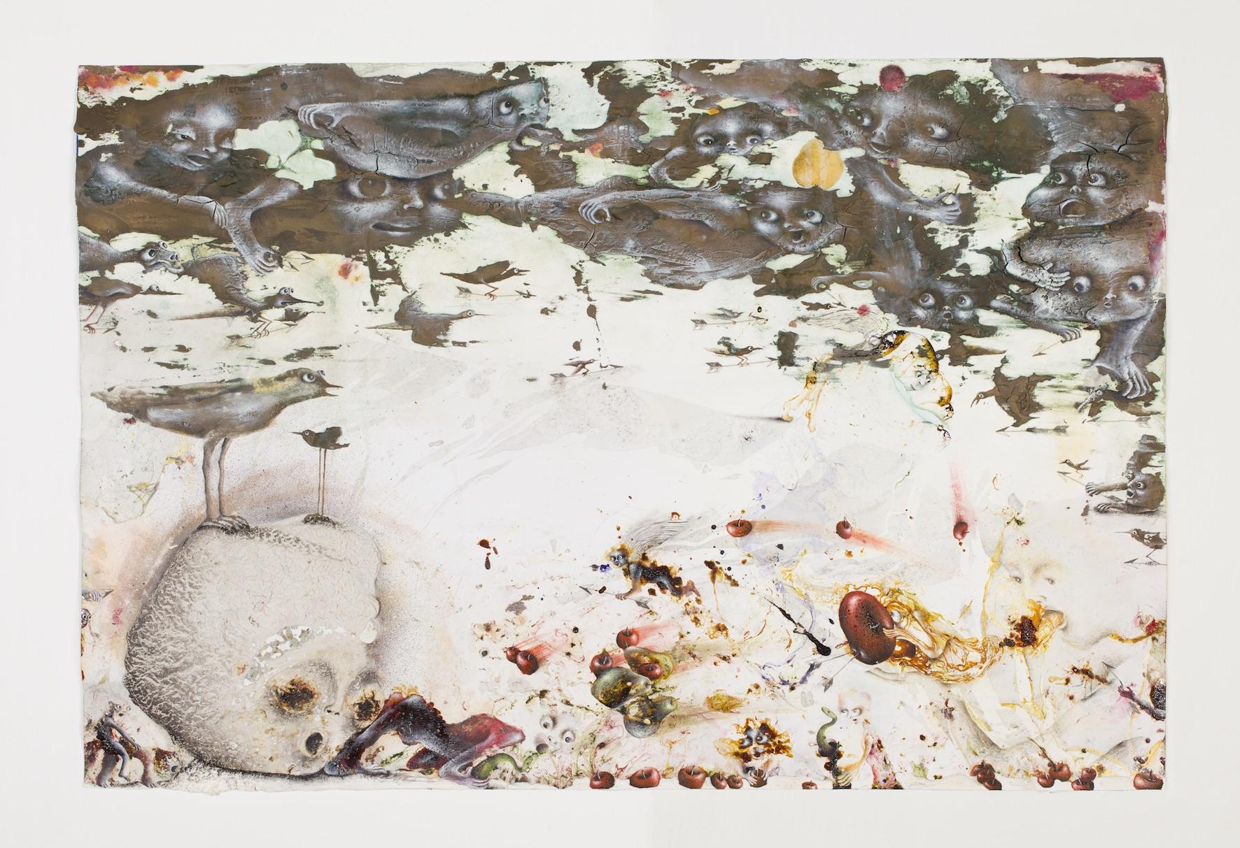 Coup en flèche, 2016,Email à froid, huile, plâtre, métal, crayon de couleur, décalcomanie sur papier, 40 x 59,5 cm