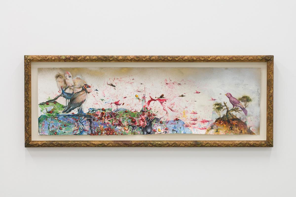 Papegeai, 2016, émail à froid, huile, résine acrylique, bombe aérosole, décalomanie sur papier, 29 x 97 cm