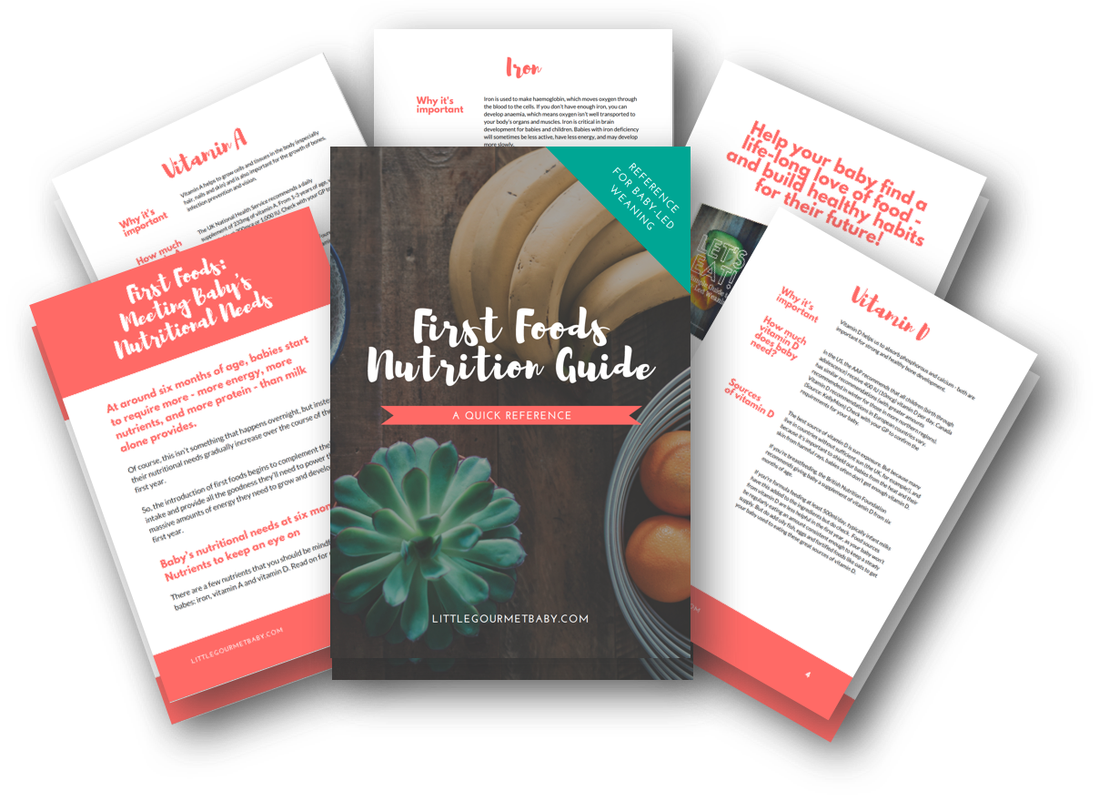 First Foods: Nutrition Guide  After 6 months, babies require more - more energy, more vitamins and nutrients - than milk alone can provide. This handy (and downloadable!) guide gives you all the basics - how much food, how often, how to balance meals, and more.   First Foods: Nutrition Guide →