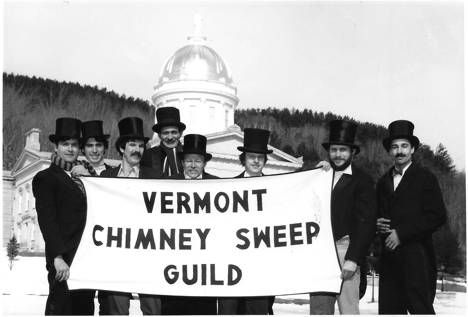 Raymond plagge (3rd from right) posing for a dapper pic with the Vermont Chimney Sweep guild (sometime in the late 70's)
