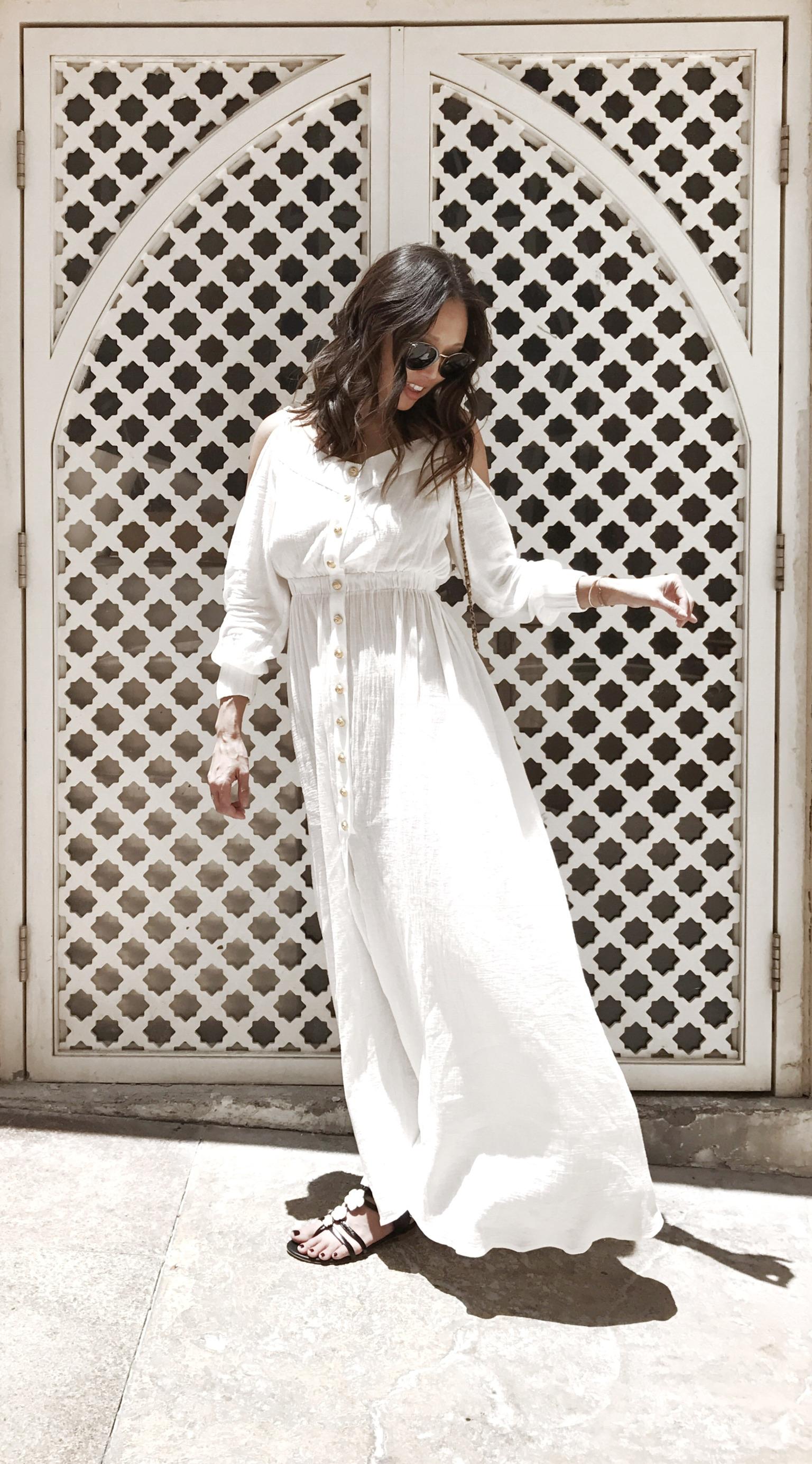 The Look: Balmain dress, Céline frames, Chanel sandal, Chanel cross-body bag -