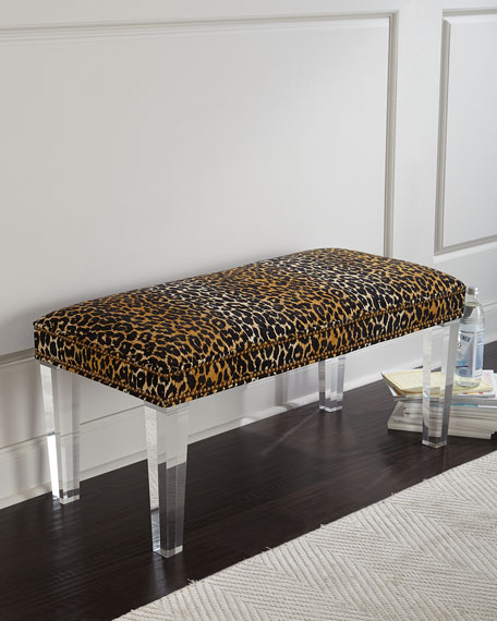 Massoud Camlo Leopard Bench  -- I love how this bench's rich leopard print is juxtaposed with light lucite legs. What a great piece to add dimension and texture to a hallway, entrance way or a dressing room.