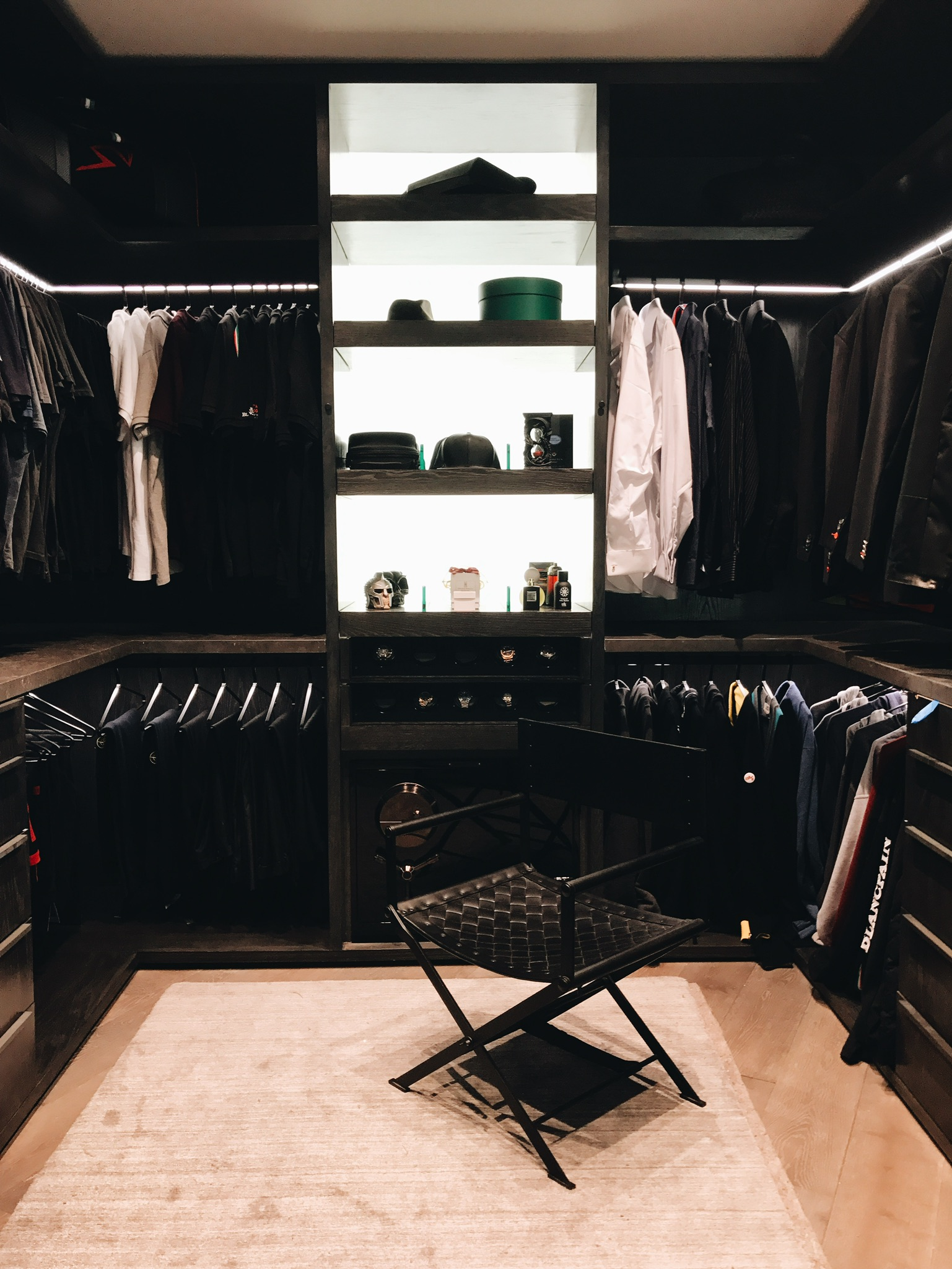 Safes  -- Safes in closets aren't new; but they've really evolved in terms OF design and technology (hello, biometric entry). Now, you can store your pricey pieces in stylish, state-of-the-art safes that blend seamlessly into your dressing room. (Courtesy of brown safe)