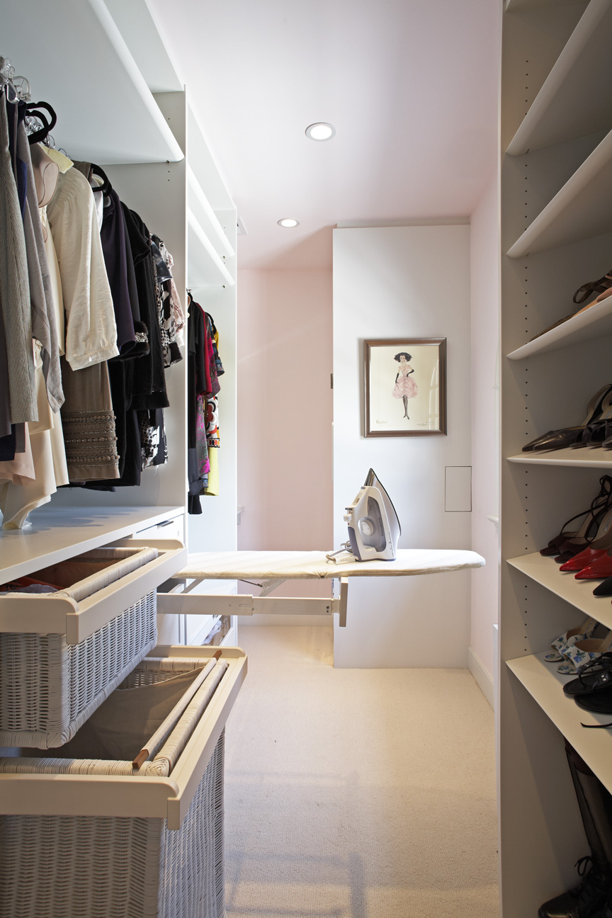 Ironing boards  -- Ironing boards are bulky (and, not the most attractive piece of equipment). But, if you have the space, a pull-out ironing board that tucks away is a great option to keep your closet looking  crisp . Besides, where better to iron your garments than in your closet?