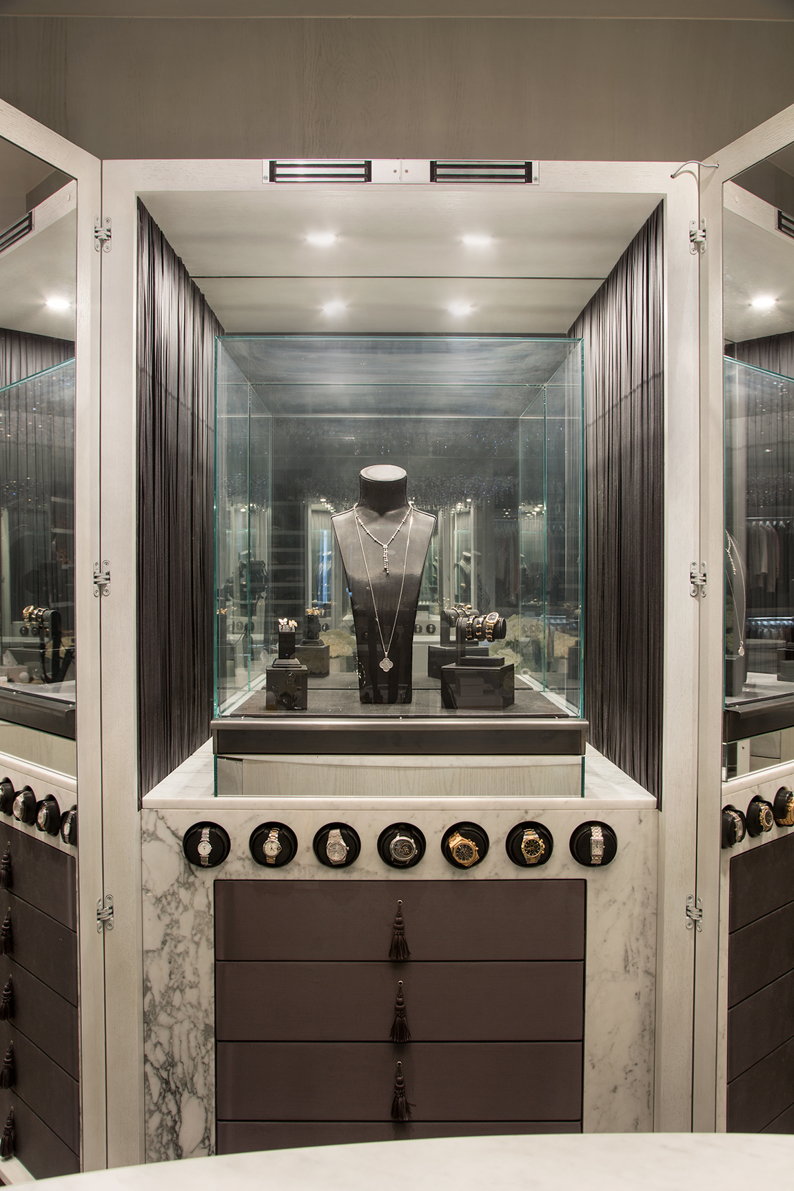 Jewelry cabinets  -- I love helping clients finds ways to store jewelry in their closet. Whether a pullout drawer with custom inserts or a standing cabinet with hooks, there are a multitude of creative ways to store and conceal bling beyond the typical box.