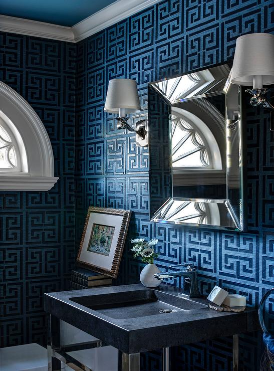 blue-navy-greek-key-wallpaper-scroll-wall-sconce-beveled-vanity-mirror.jpg