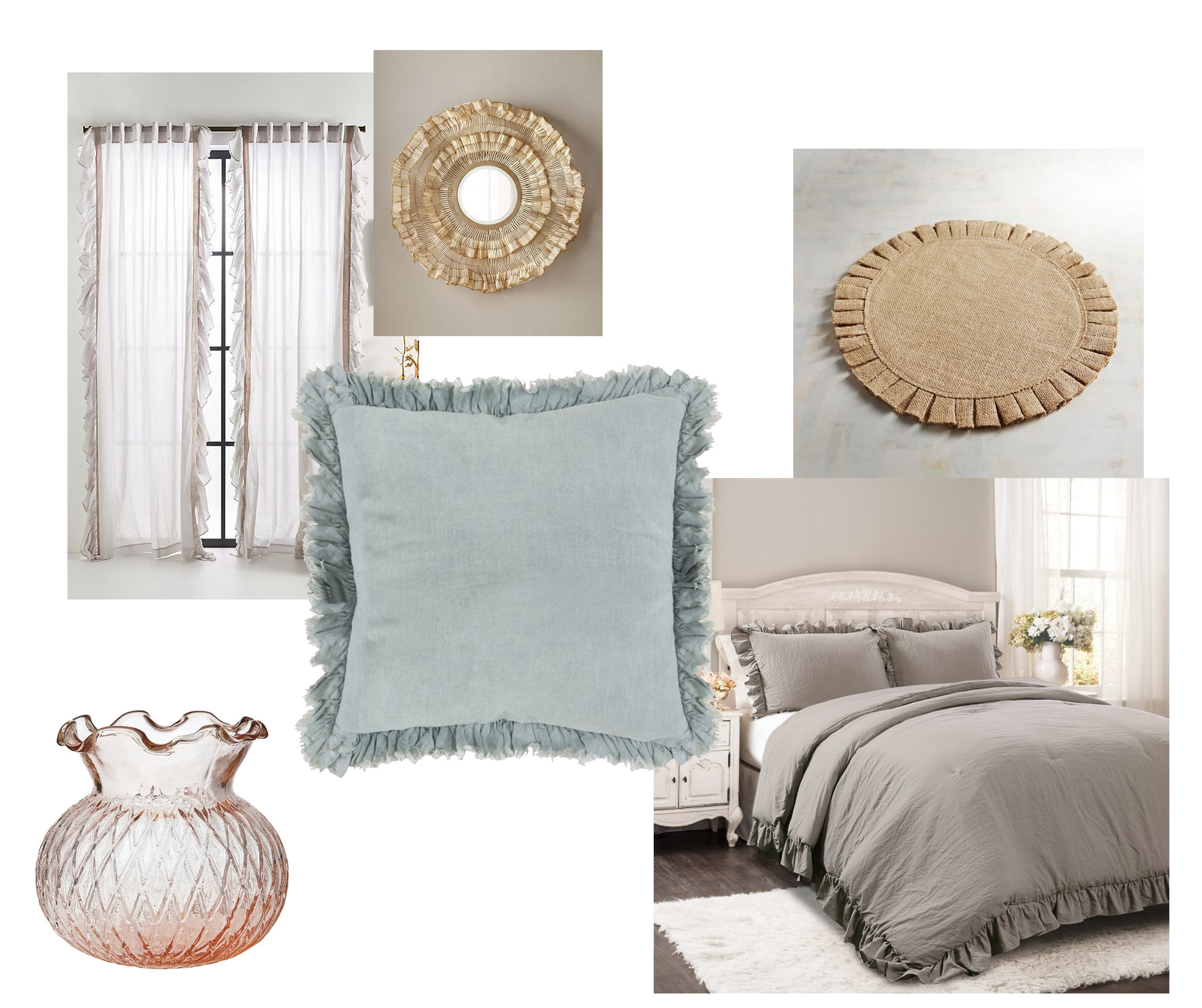 COMFORTER  |  CURTAIN  |  THROW PILLOW  |  PLACEMAT  |  VASE  |  MIRROR