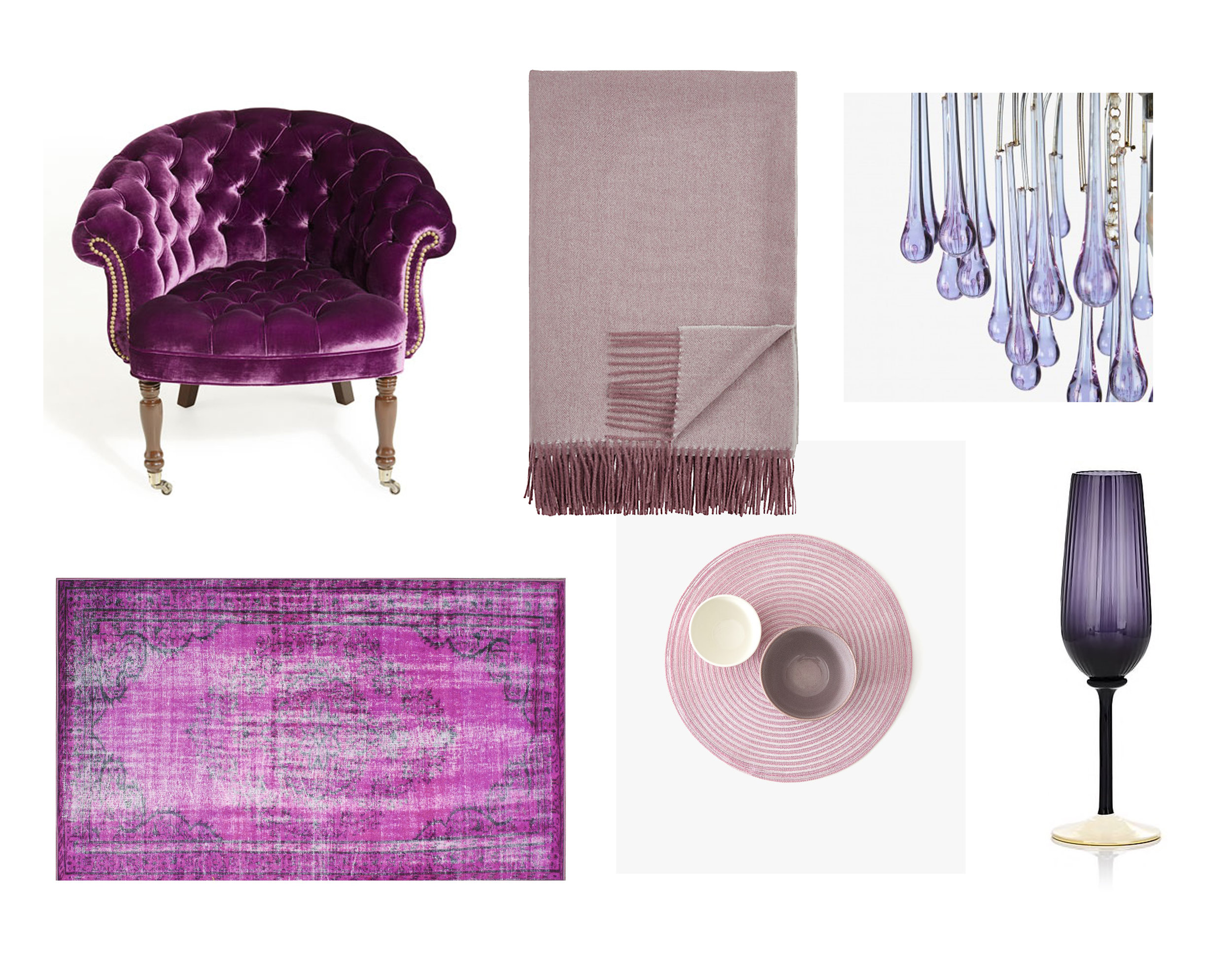 CHANDELIER  |  RUG  |  PLACEMAT  |  THROW  |  CHAMPAGNE FLUTE  |  CHAIR