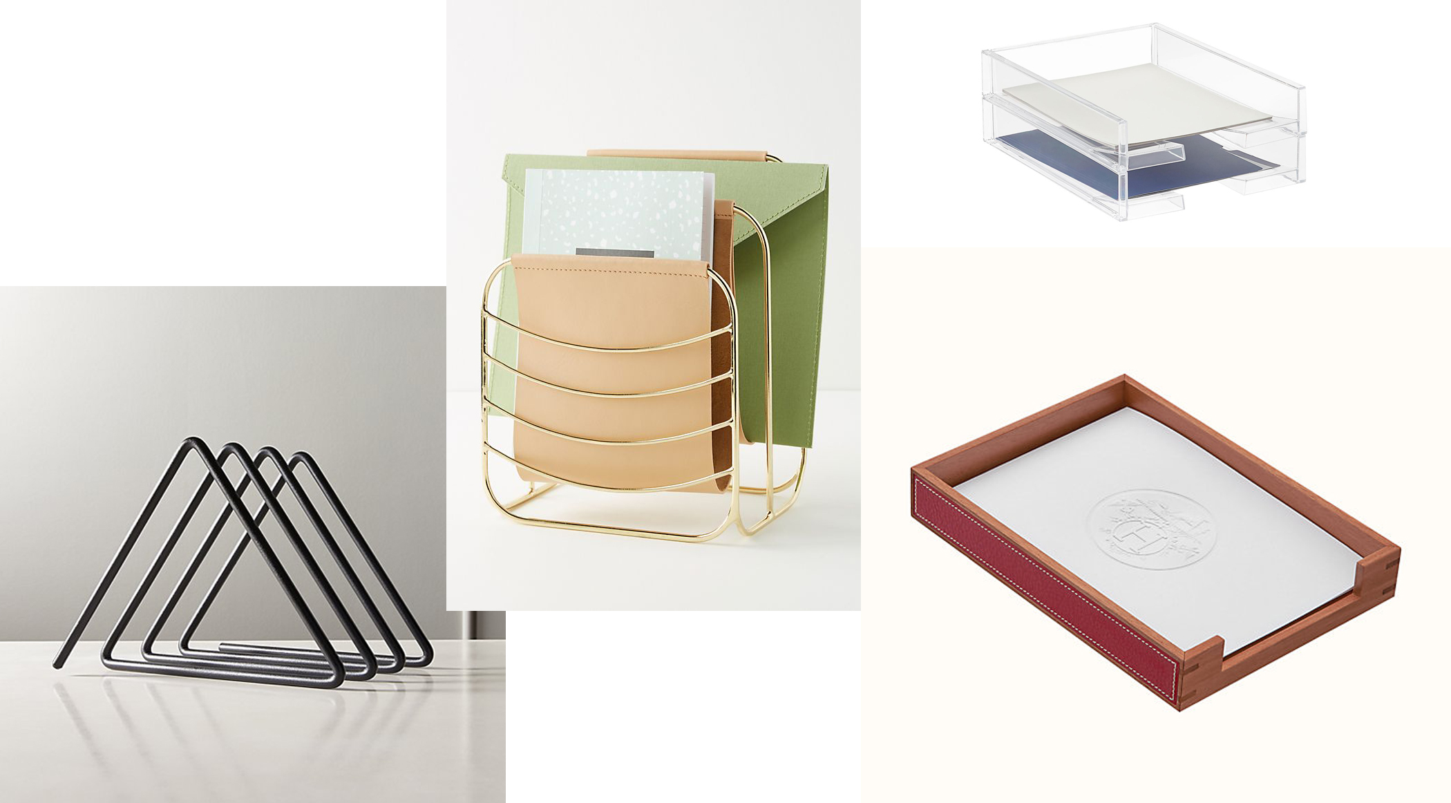 HERMES TRAY  |  ACRYLIC TRAYS  |  BRASS FILE RACK  |  BLACK COIL FILE HOLDER