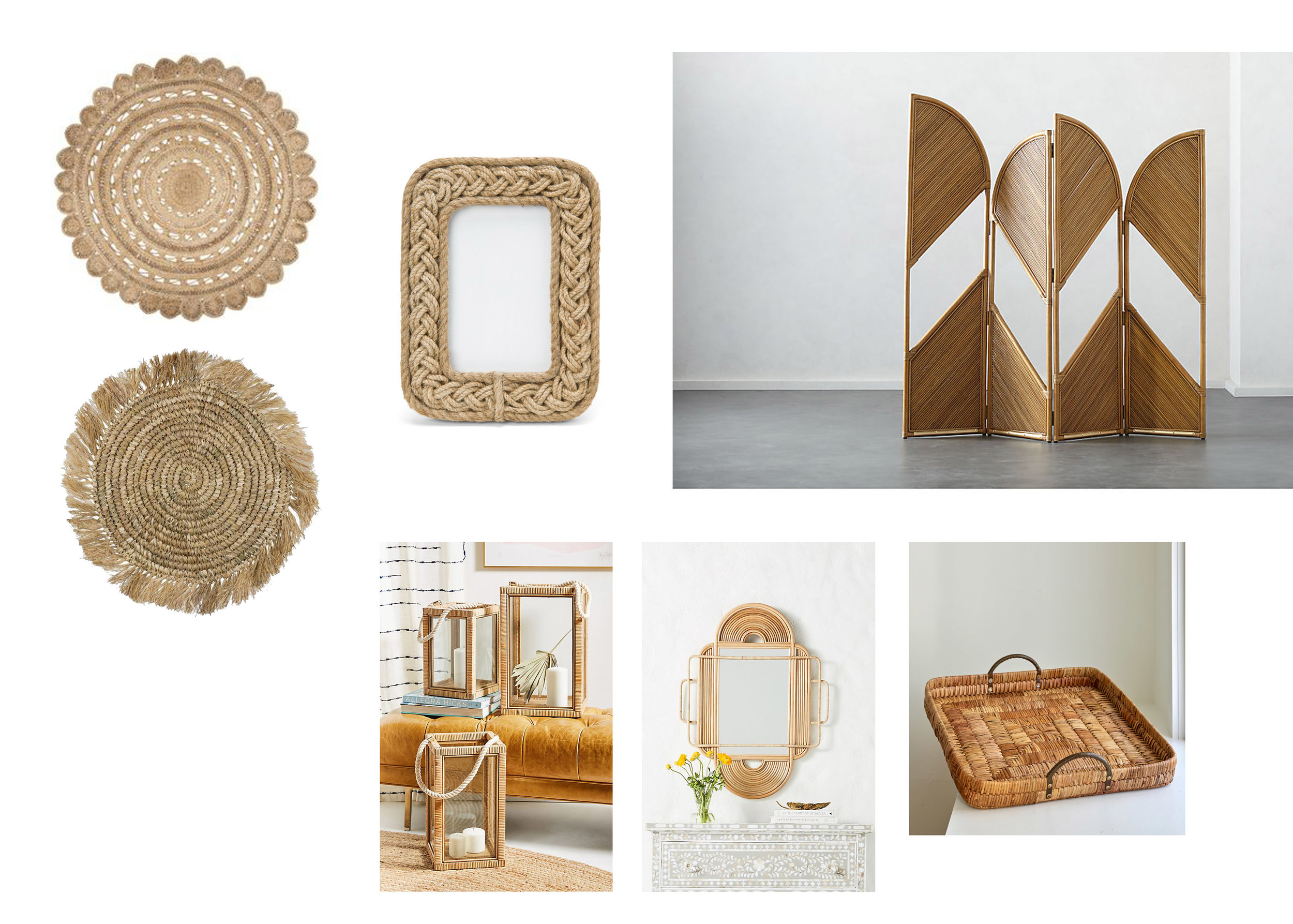 LANTERN  |  RATTAN MIRROR  |  ROOM DIVIDER  |  JUTE RUG  |  PLACEMAT  |  FRAME  |  TRAY
